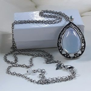 Opalescent Moon pendant with Marcasite Detail